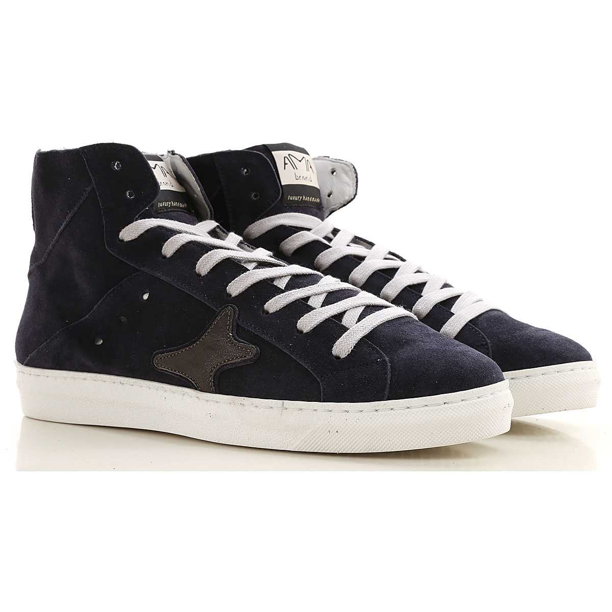 Ama Brand Sneakers for Men, Blue, Leather, 2019, EUR 40 - UK 6 - USA 7 EUR 42 - UK 8 - USA 8.5 EUR 43 - UK 9 - USA 9.5 EUR 44 - UK 9.5 - USA 10 EUR 45