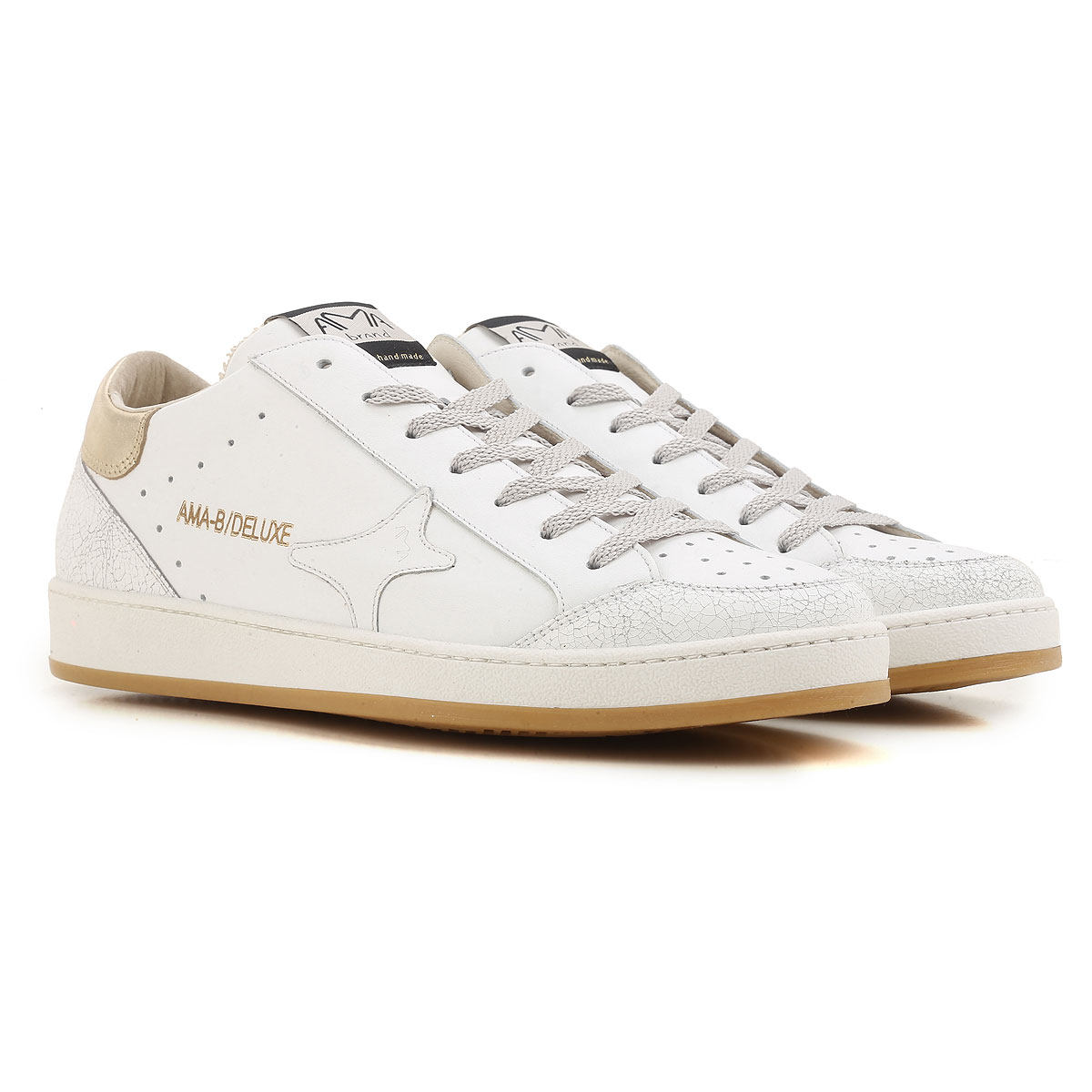 Image of Ama Brand Sneakers for Men On Sale in Outlet, White, Leather, 2017, EUR 43 - UK 9 - USA 9.5 EUR 45 - UK 10.5 - USA 11 EUR 41 - US 8 - UK 7