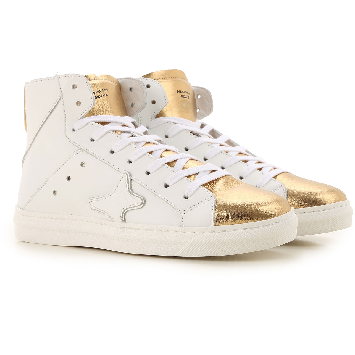 Ama Brand Sneakers for Women, White, Leather, 2019, EUR 36 - UK 3 - USA 5.5 EUR 37 - UK 4 - USA 6.5 EUR 38 - UK 5 - USA 7.5 EUR 39 - UK 6 - USA 8.5
