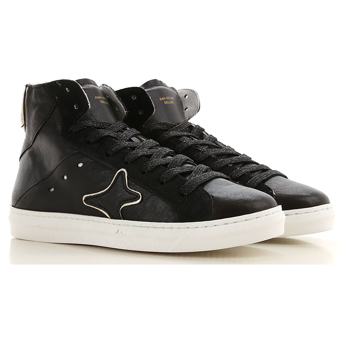 Ama Brand Sneakers for Women, Black, Leather, 2019, EUR 36 - UK 3 - USA 5.5 EUR 37 - UK 4 - USA 6.5 EUR 38 - UK 5 - USA 7.5
