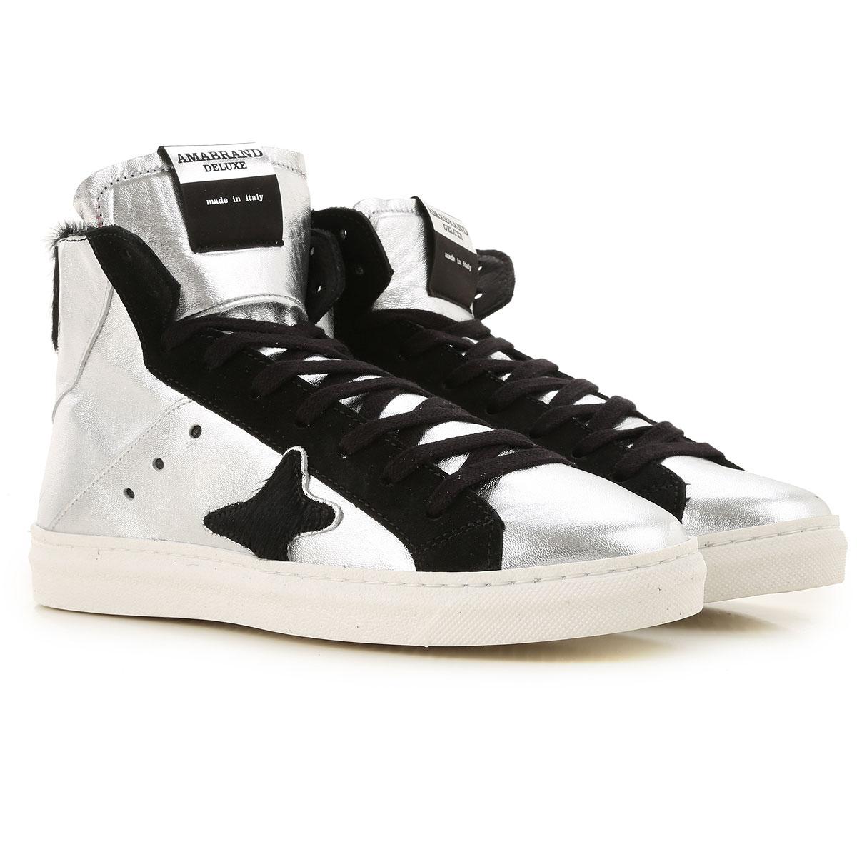 Ama Brand Sneakers for Women, Metallic Silver, Leather, 2019, EUR 37 - UK 4 - USA 6.5 EUR 38 - UK 5 - USA 7.5 EUR 40 - UK 7 - USA 9.5