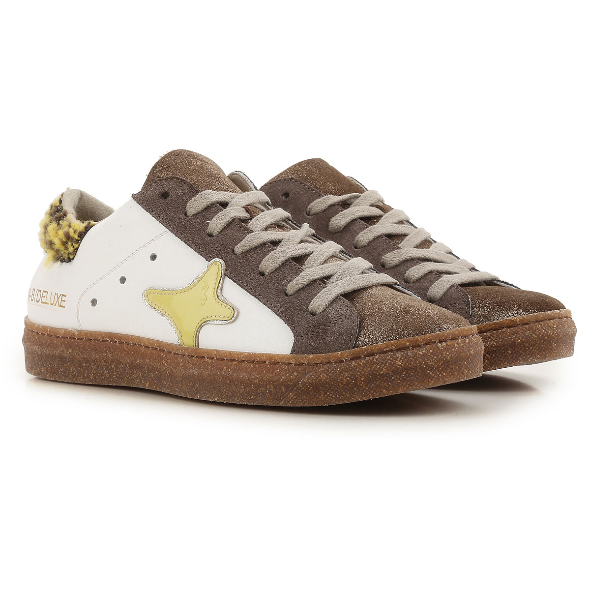Image of Ama Brand Sneakers for Women On Sale, Brown, Leather, 2017, EUR 36 - UK 3 - USA 5.5 EUR 37 - UK 4 - USA 6.5