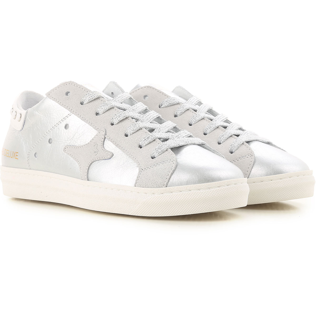 Image of Ama Brand Sneakers for Women On Sale, Silver, Leather, 2017, EUR 36 - UK 3 - USA 5.5 EUR 37 - UK 4 - USA 6.5 EUR 38 - UK 5 - USA 7.5 EUR 40 - UK 7 - USA 9.5