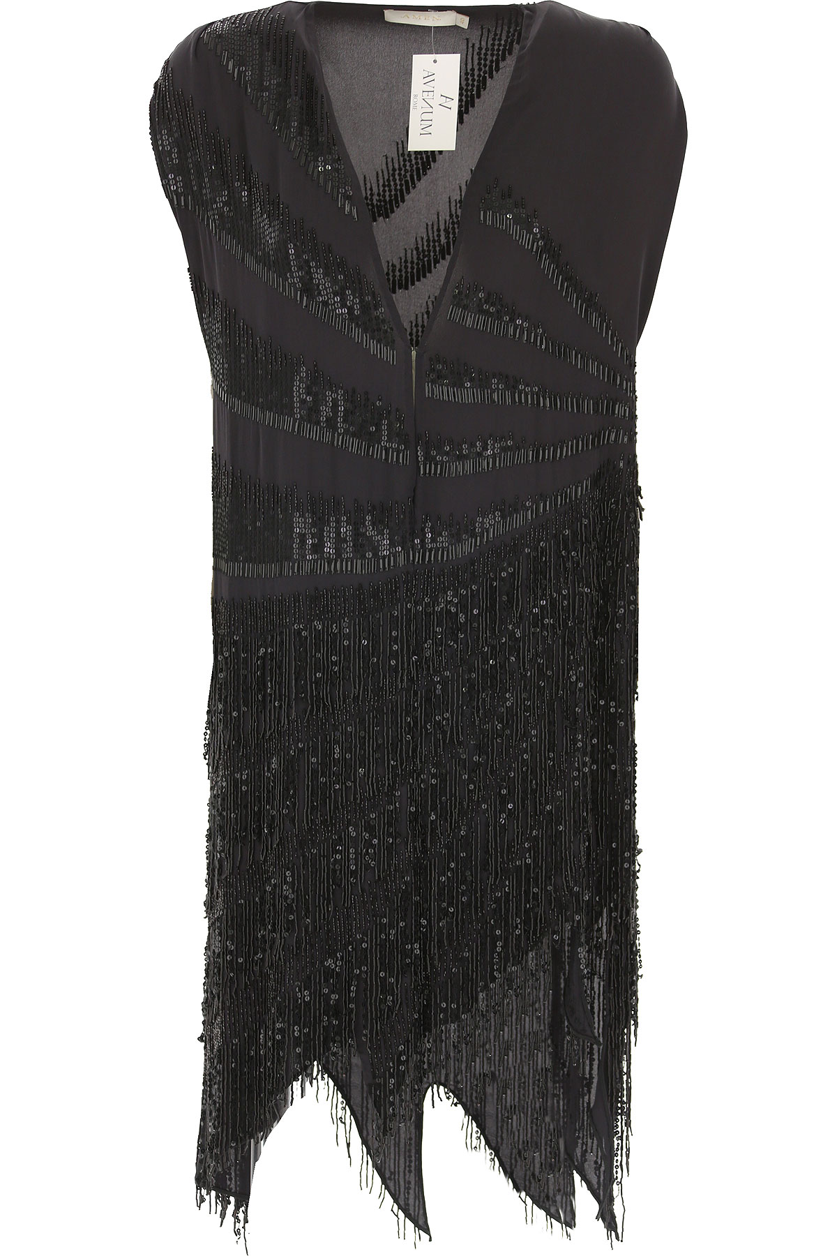 Image of Amen Dress for Women, Evening Cocktail Party, Black, Silk, 2017, 4 6