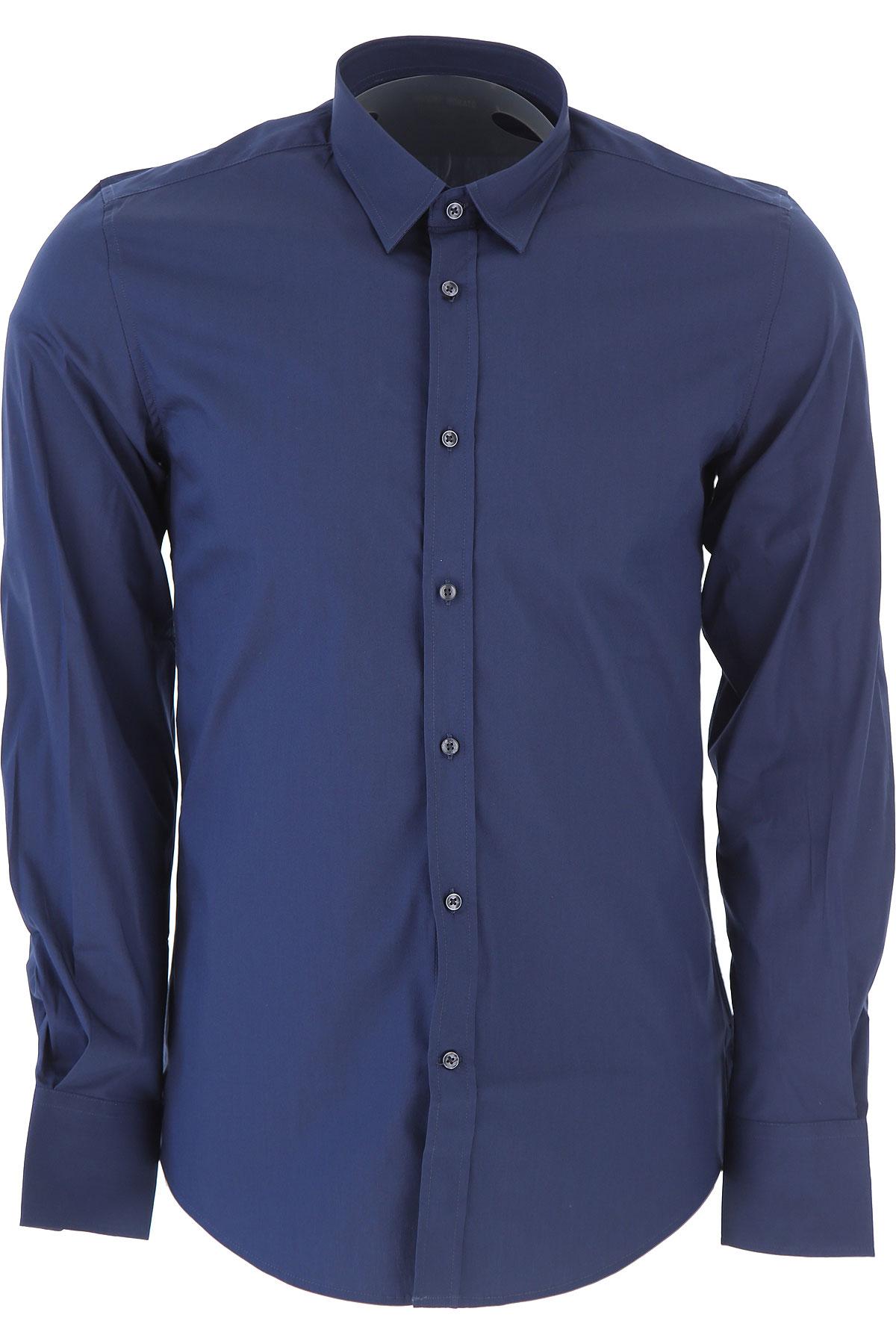 Image of Antony Morato Shirt for Men, Avio Blue, Cotton, 2017, L M S XL XS XXL