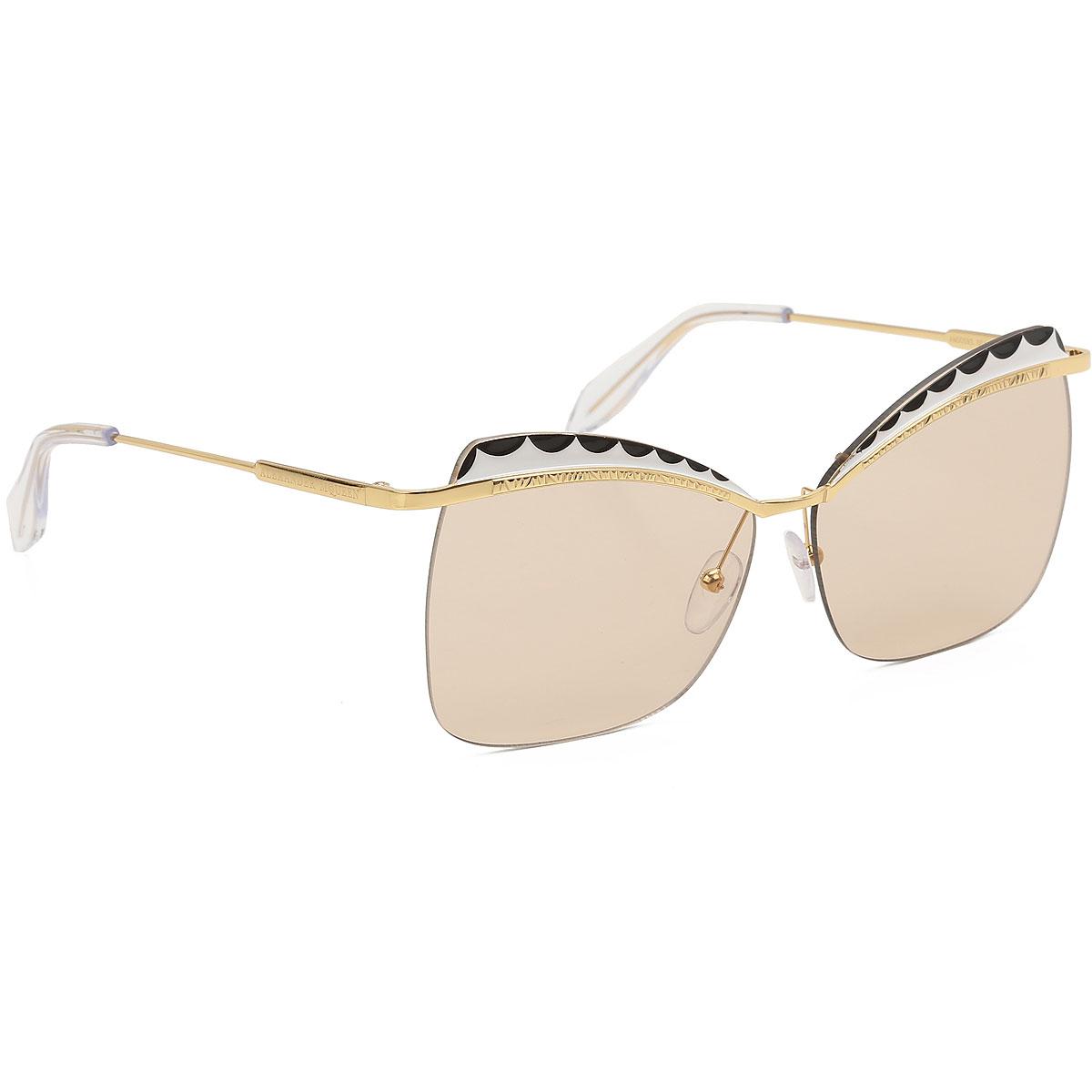 Alexander McQueen Sunglasses On Sale, Gold, 2019