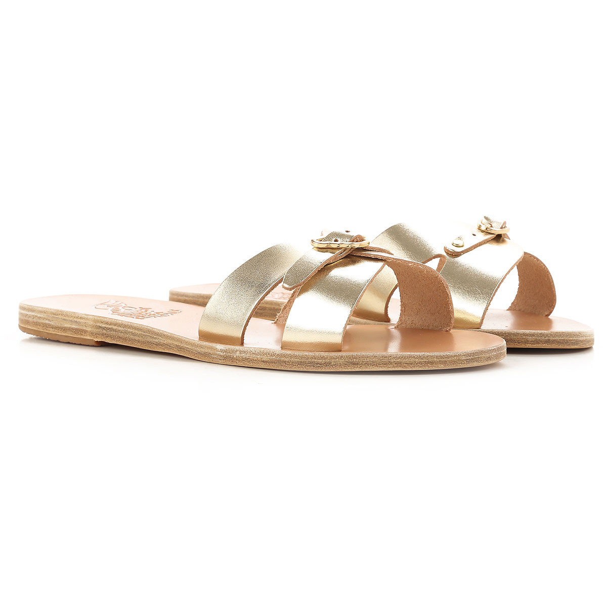 Image of Ancient Greek Sandals Sandals for Women On Sale, Silver, Leather, 2017, 7 9