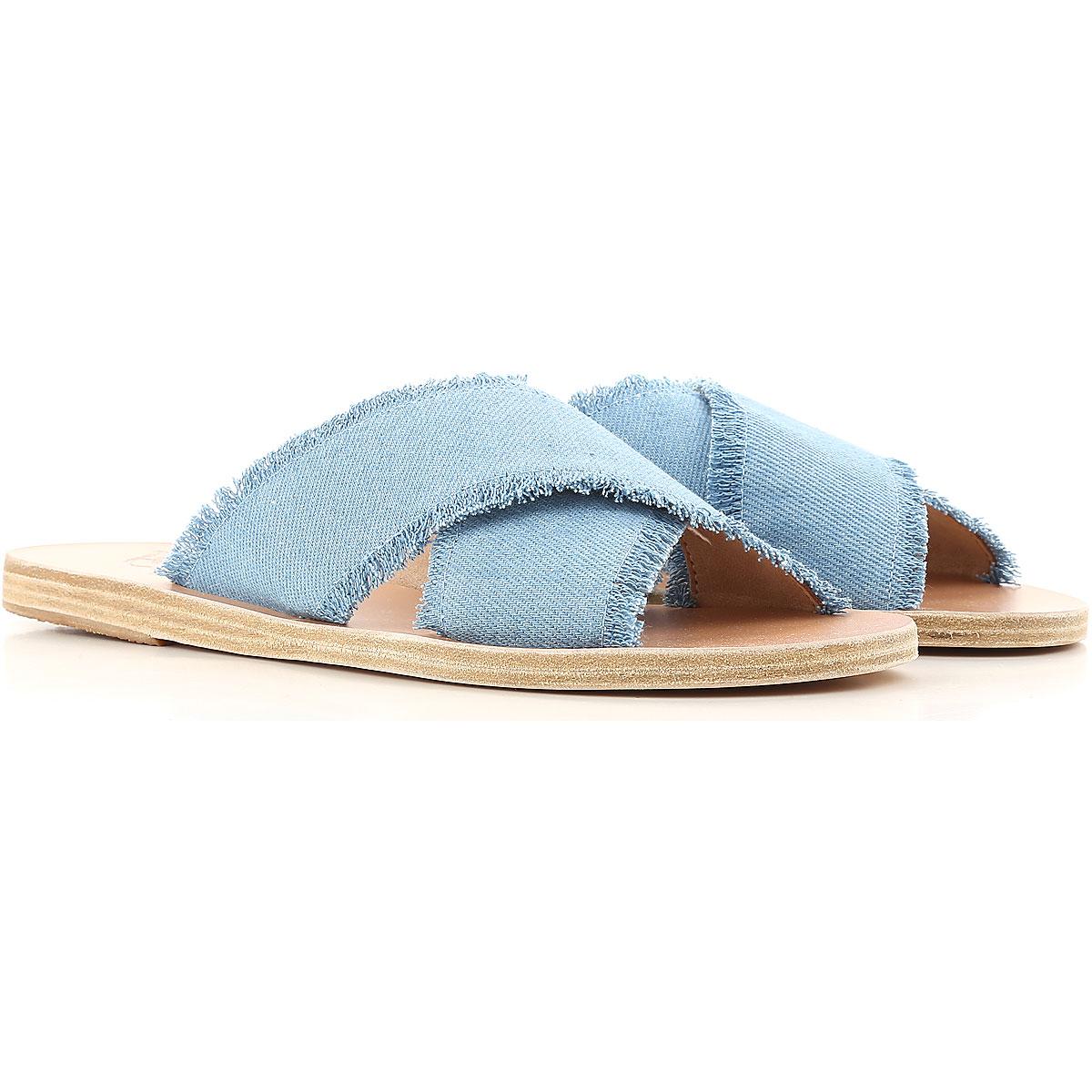 Image of Ancient Greek Sandals Sandals for Women On Sale, Denim Blue, Fabric, 2017, 6 7