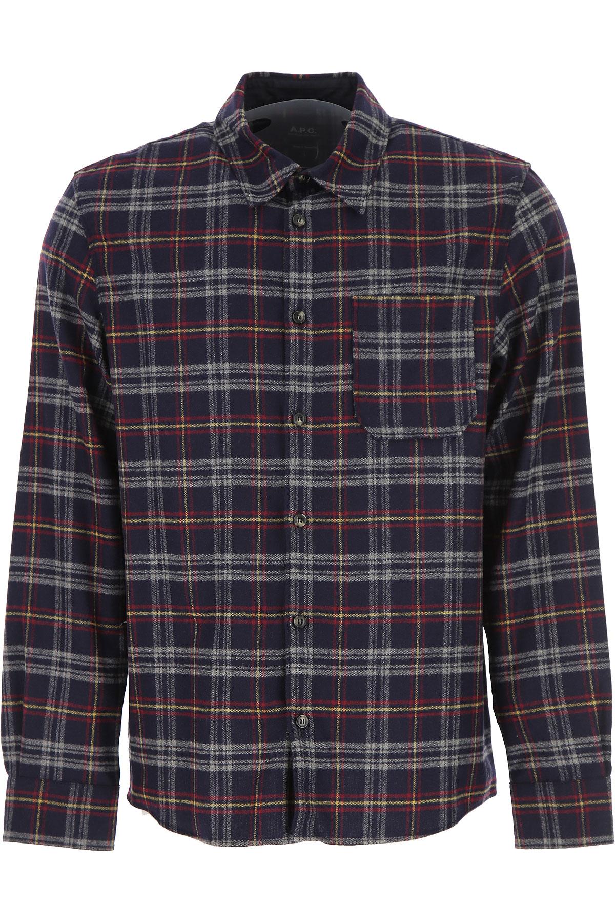 Image of A.P.C Shirt for Men, Blue Ink, Wool, 2017, L M S XL