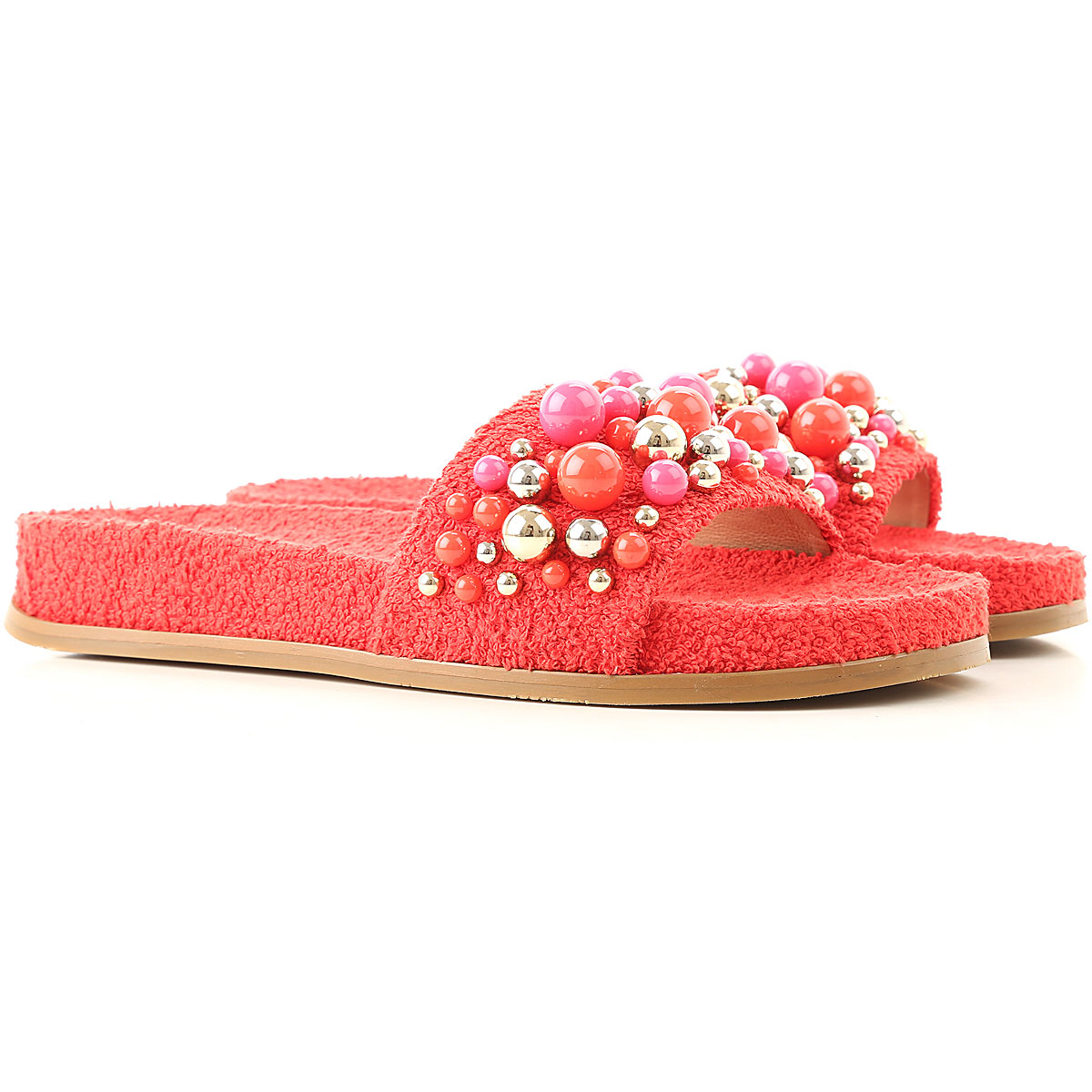 Aquazzura Flip Flops for Women, Thongs On Sale in Outlet, Carnation Red, Fabric, 2019, 6 6.5 7