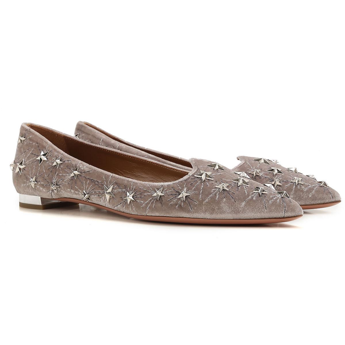 Image of Aquazzura Ballet Flats Ballerina Shoes for Women On Sale, Light Grey, Velvet, 2017, 8 9