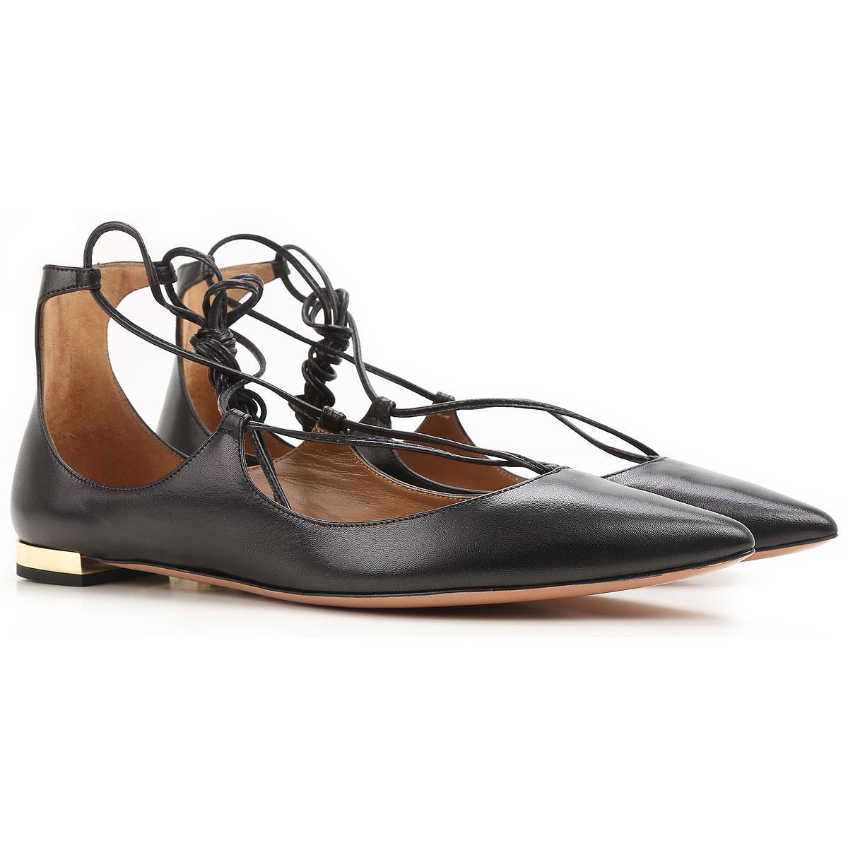 Image of Aquazzura Ballet Flats Ballerina Shoes for Women On Sale, Black, Leather, 2017, 10 10.5 11 6 6.5 7 8.5 9 9.5