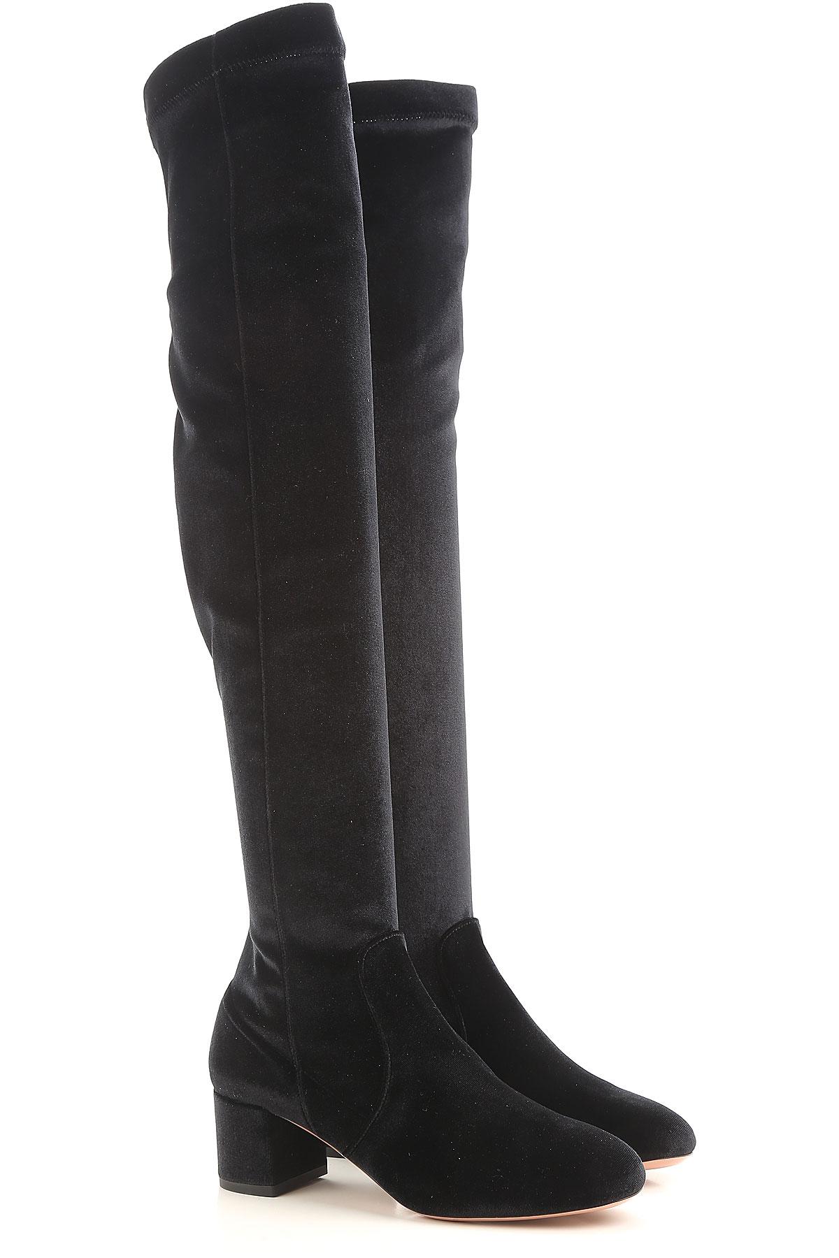 Aquazzura Boots For Women, Booties On Sale In Outlet, Black, Velvet, 2019, 2.5
