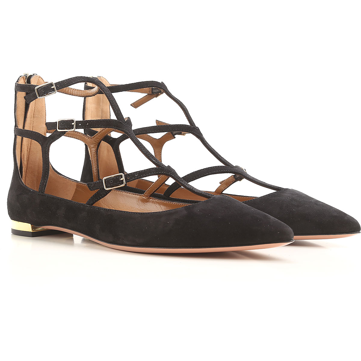 Image of Aquazzura Ballet Flats Ballerina Shoes for Women On Sale in Outlet, Black, Suede leather, 2017, 7 8.5 9 9.5