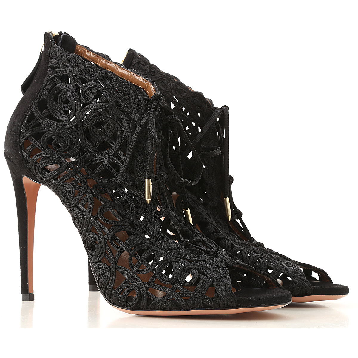Aquazzura Boots moterims, Booties  in Outlet, juodi, oda, 2019, 39 39.5 40.5