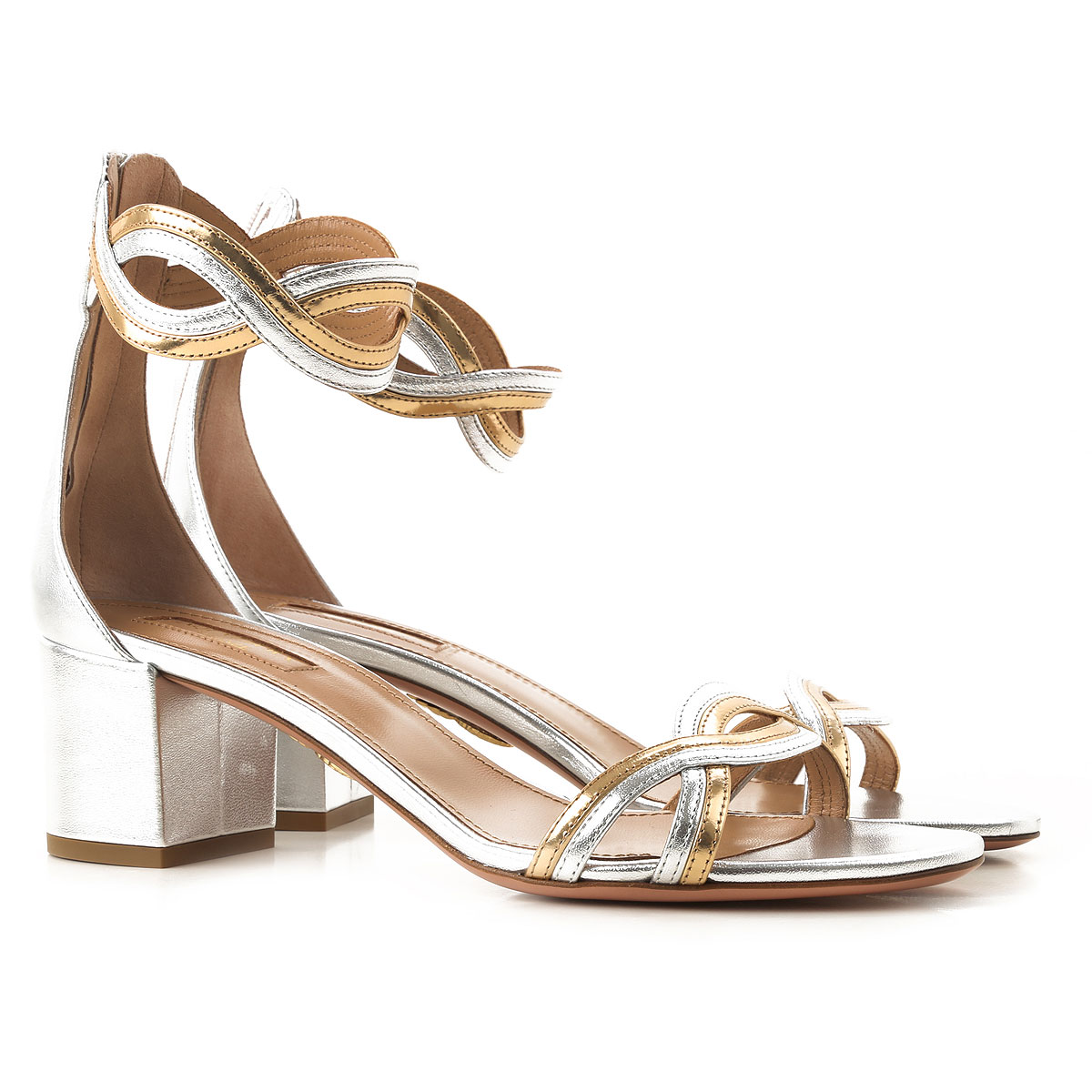 Aquazzura Sandals for Women On Sale in Outlet, Silver, Metallic Leather, 2019, 6 9