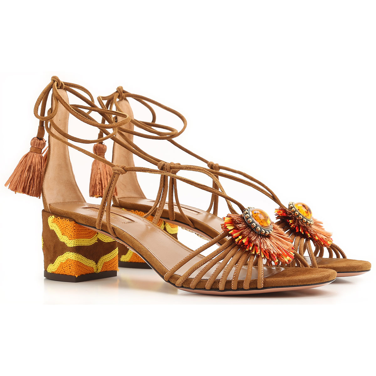 Aquazzura Sandals for Women On Sale in Outlet, Brown, Leather, 2019, 6.5