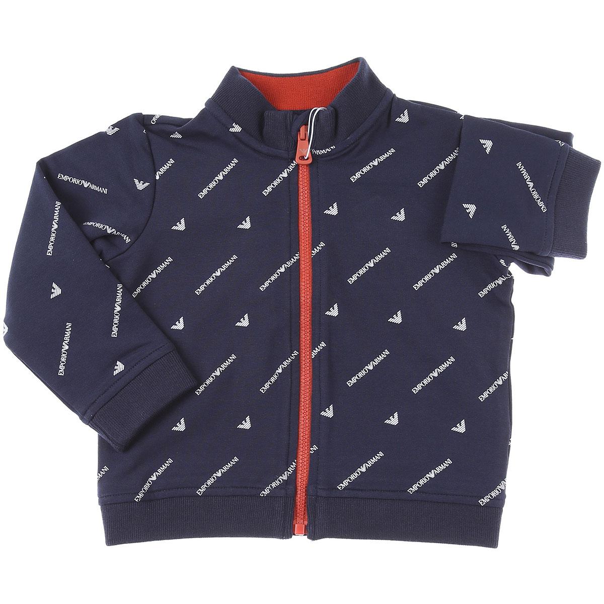 Emporio Armani Baby Sweatshirts & Hoodies for Boys On Sale, Blue, Cotton, 2019, 12 M 18M 2Y 3Y 9M