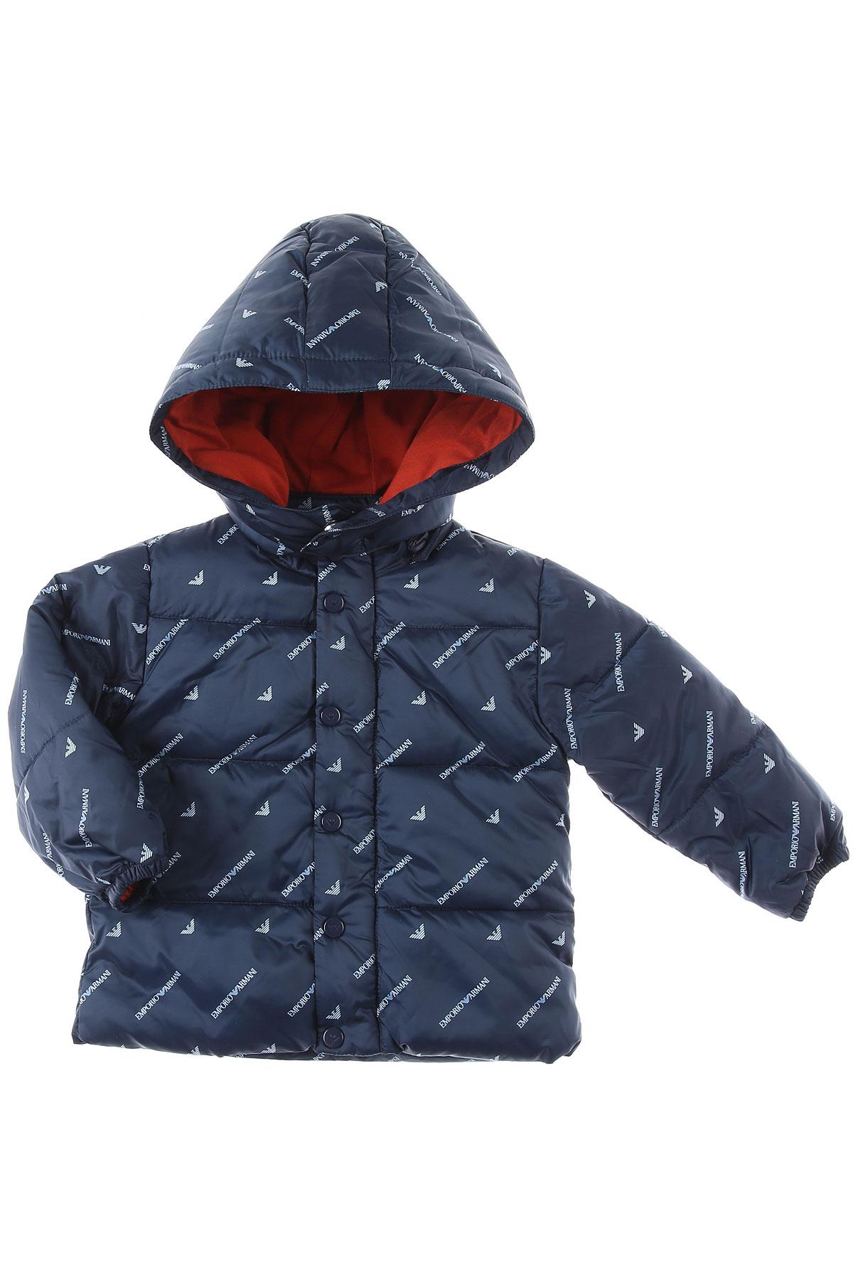 Emporio Armani Baby Down Jacket for Boys On Sale, Blue, polyester, 2019, 18M 2Y 3Y