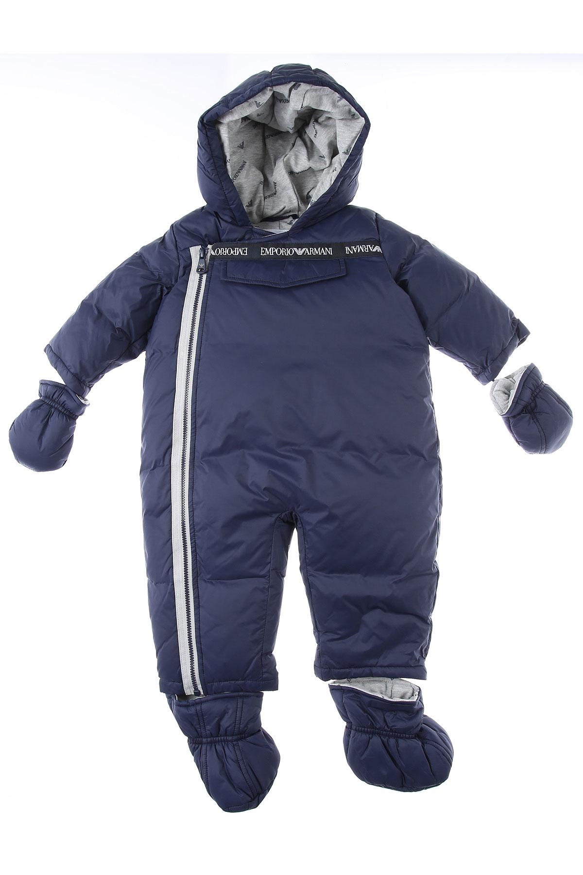 Emporio Armani Baby Down Jacket for Boys On Sale, Blue, polyamide, 2019, 3M 6M