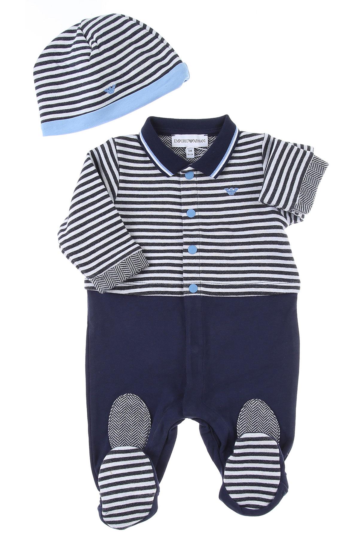 Emporio Armani Baby Bodysuits & Onesies for Boys On Sale, navy, Cotton, 2019, 1M 3M