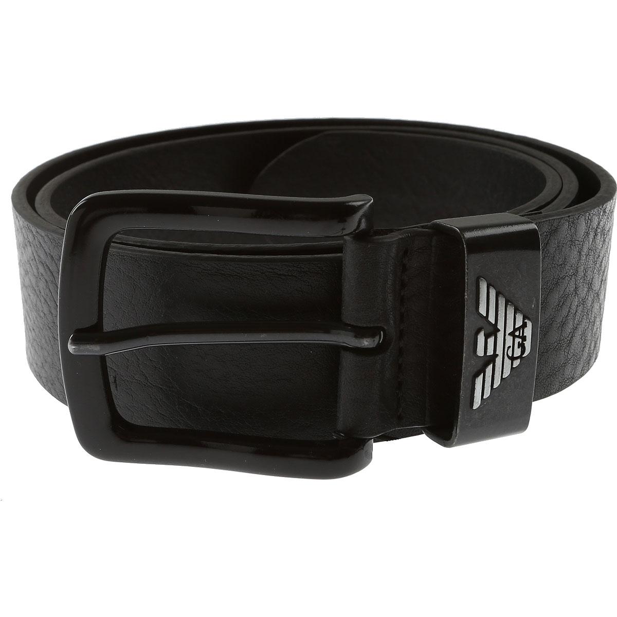 Emporio Armani Mens Belts, Black, Leather, 2017, 38 40 44