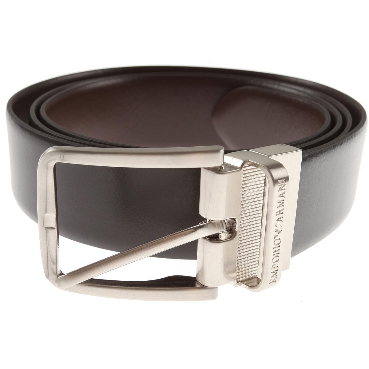 Emporio Armani Mens Belts, Black, Leather, 2017