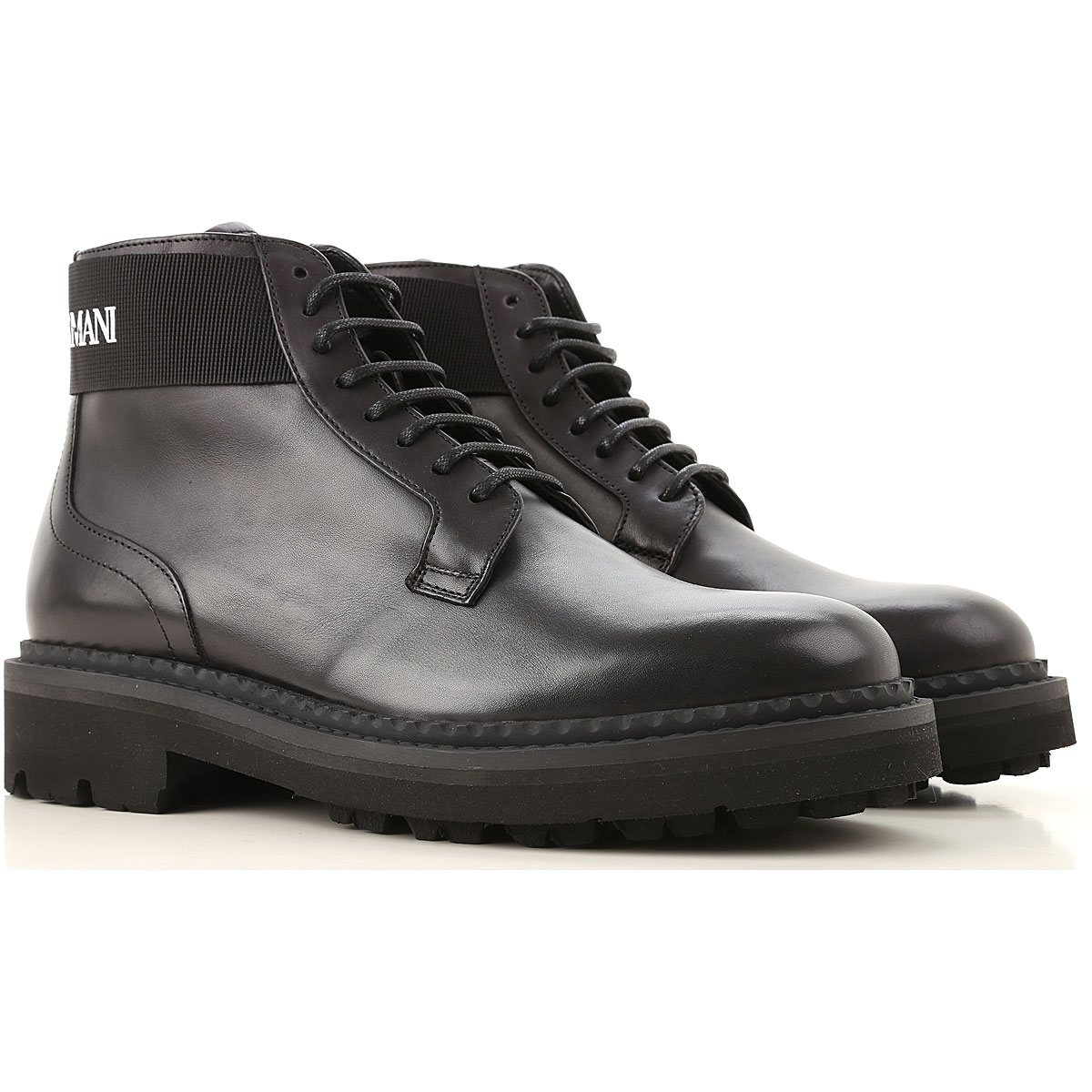 Emporio Armani Boots for Men, Booties On Sale, Black, Leather, 2019, 10.5 11