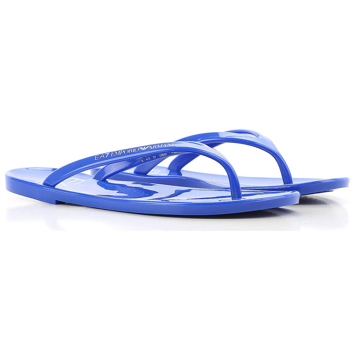 Image of Emporio Armani Flip Flops for Women, Thongs On Sale, Fluo Blue, PVC, 2017, US 6 - UK 4.5 - EU 37 US 9 - UK 7.5 - EU 41 US 6 - UK 5.5 - EU 38