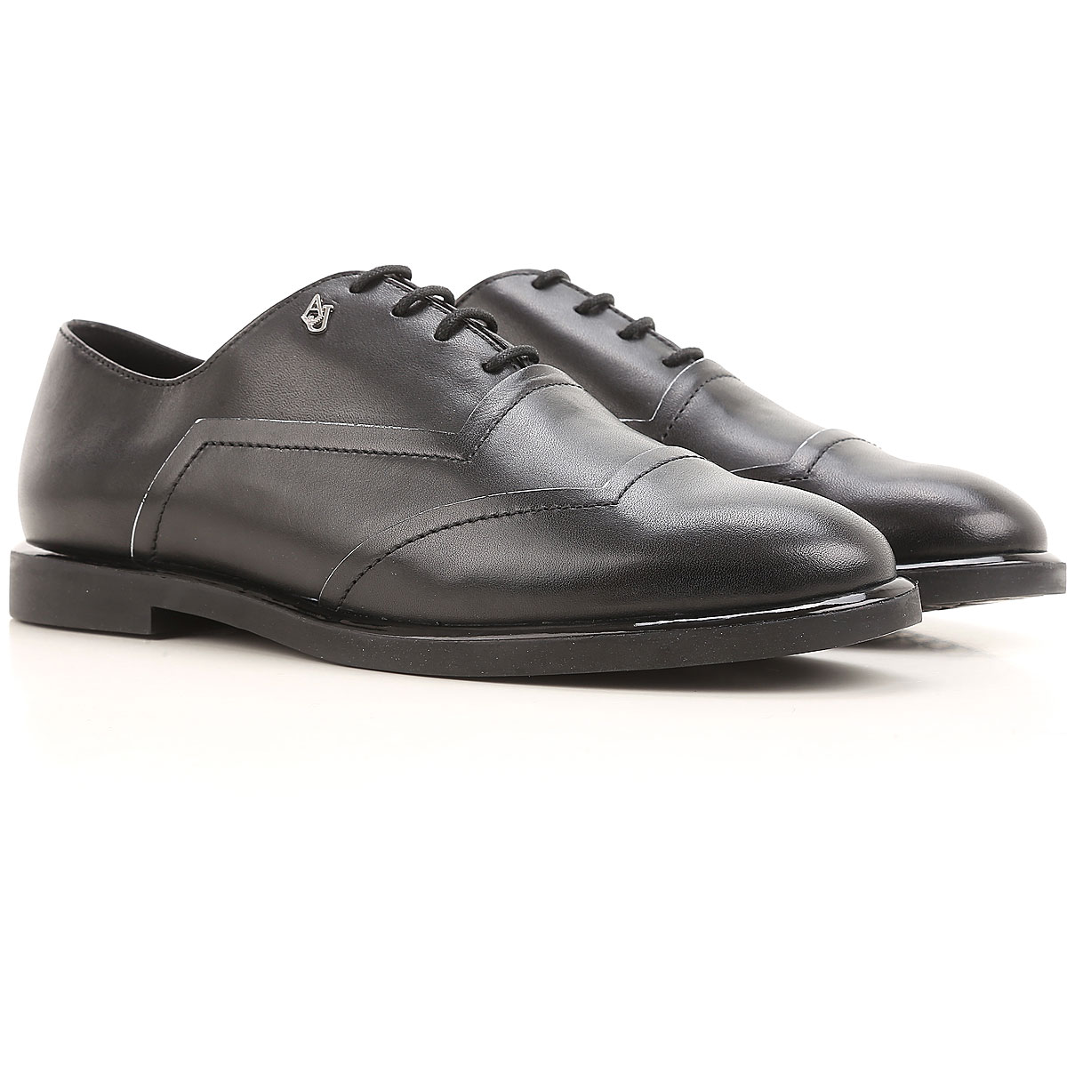 Image of Emporio Armani Lace Up Shoes for Men Oxfords, Derbies and Brogues On Sale, Black, Leather, 2017, 10 6 7 8