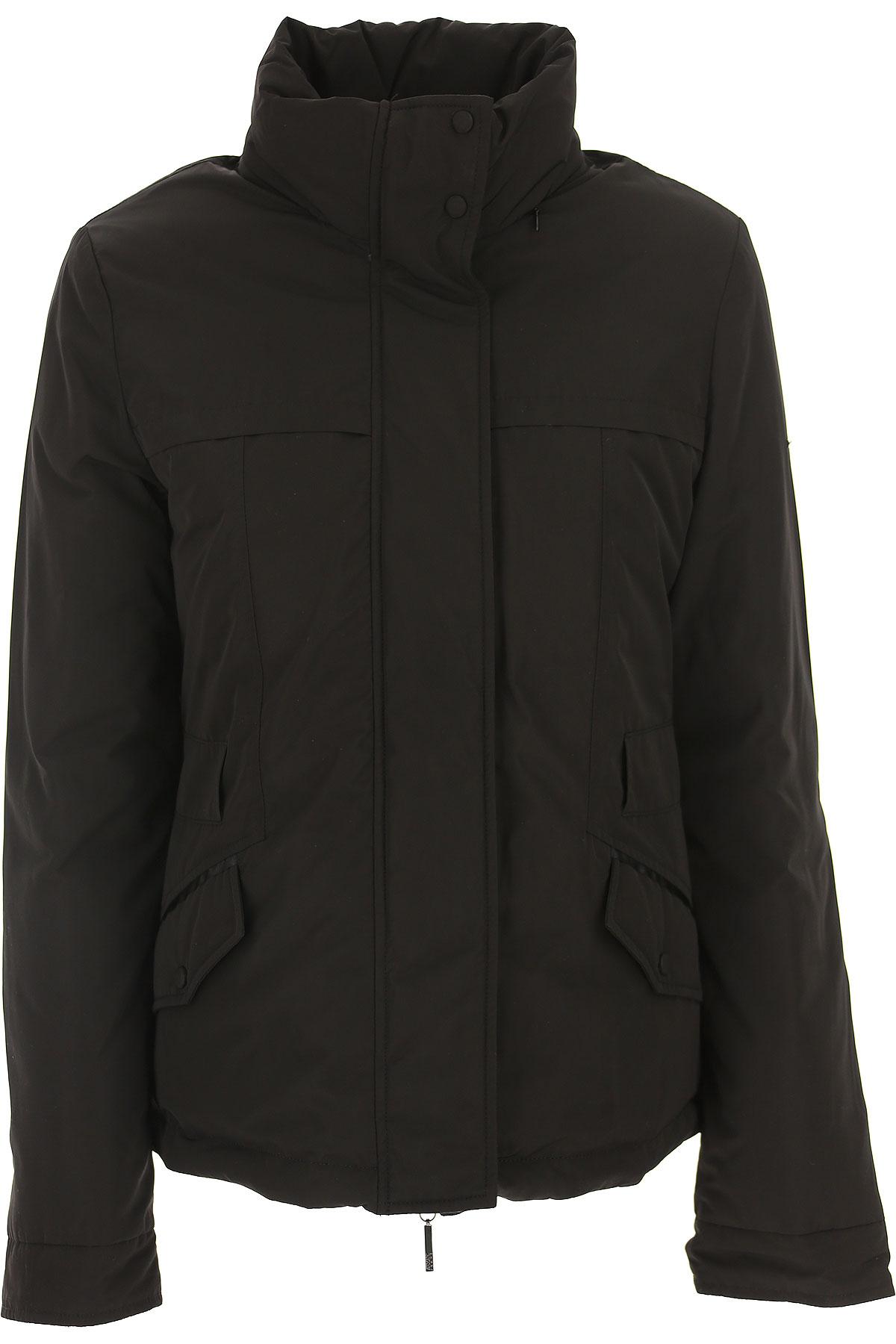 Image of Giorgio Armani Down Jacket for Women, Puffer Ski Jacket On Sale, Black, polyester, 2017, 10 4 6 8