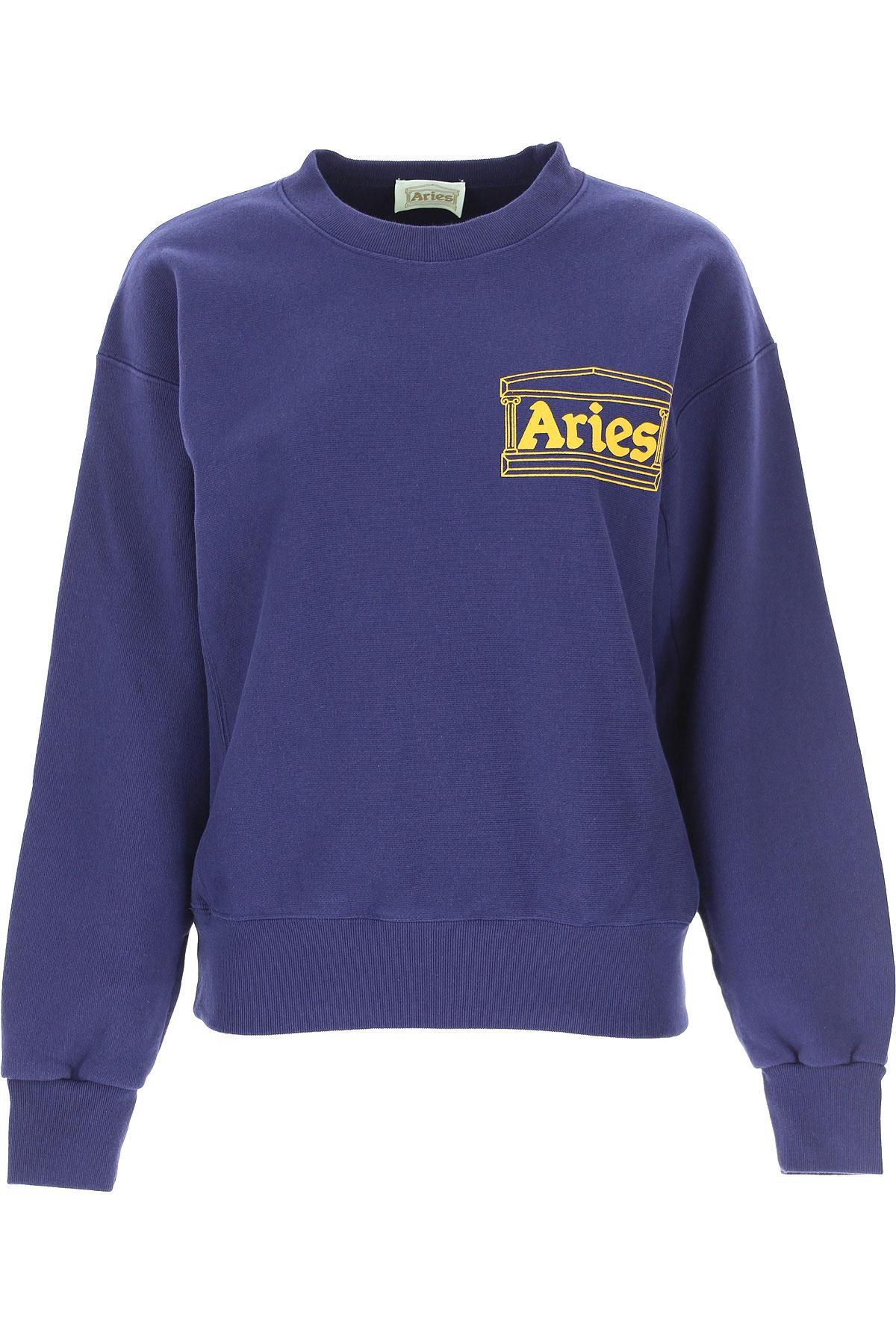 Aries Sweatshirt for Women On Sale, Indigo Blue, Cotton, 2019, 4