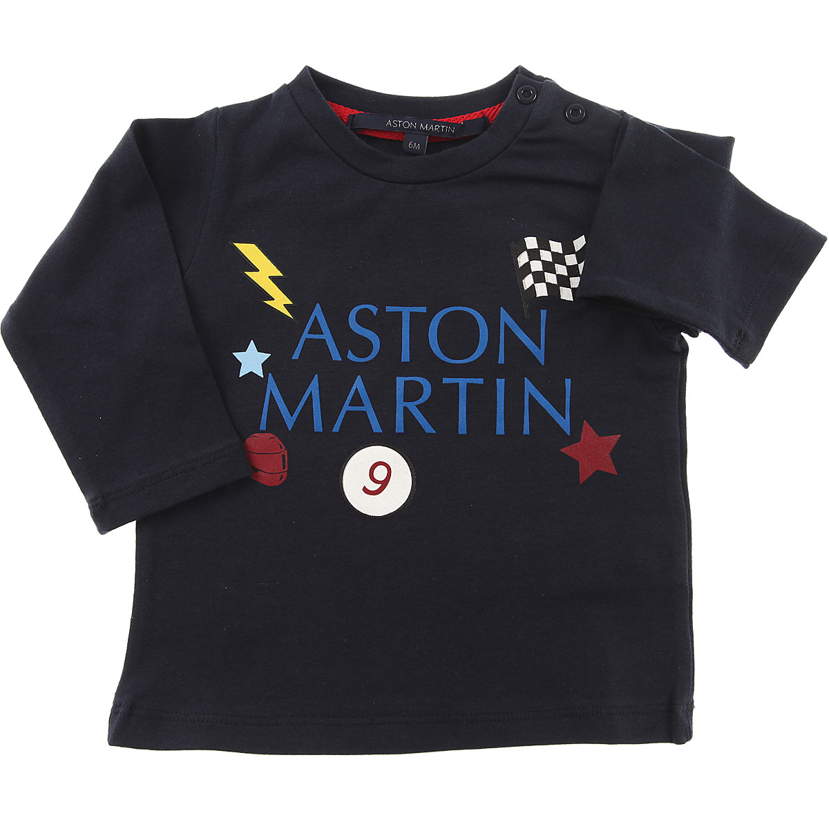 Image of Aston Martin Baby T-Shirt for Boys, Blue, Cotton, 2017, 12M 18M 6M 9M