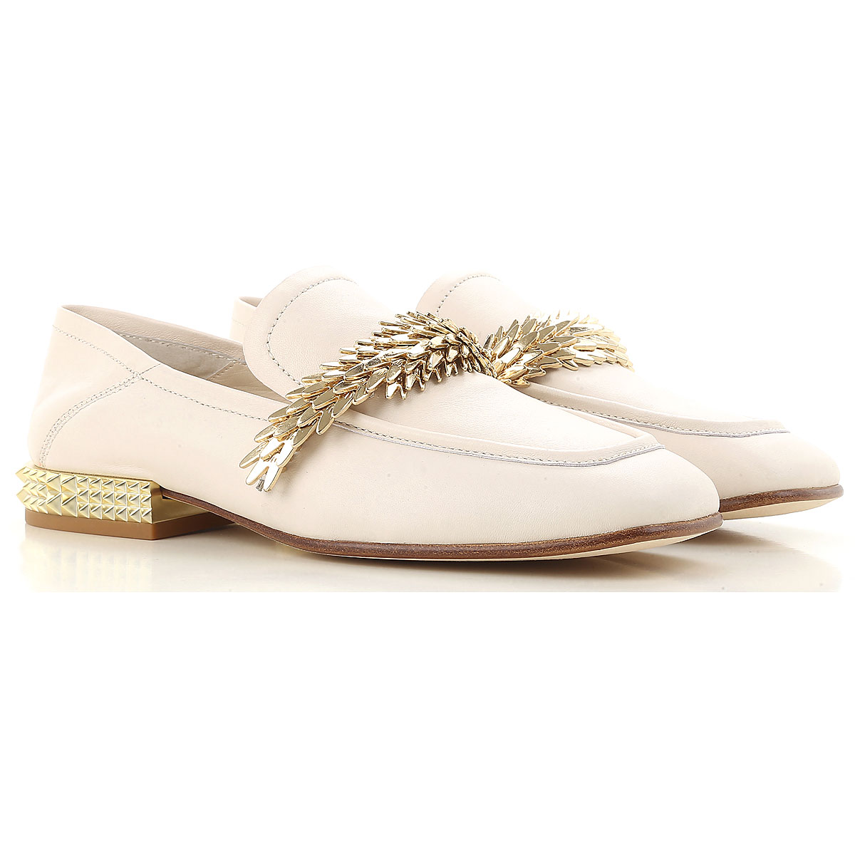 Image of Ash Loafers for Women On Sale, Ivory, Cow Leather, 2017, 10 5