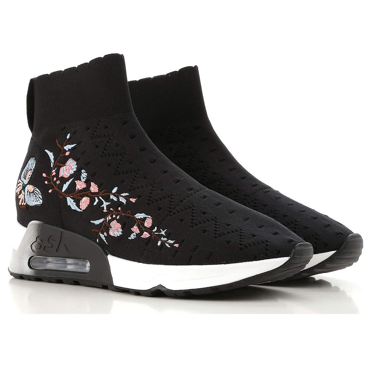 Image of Ash Slip on Sneakers for Women On Sale, Black, Knitted, 2017, 11 9