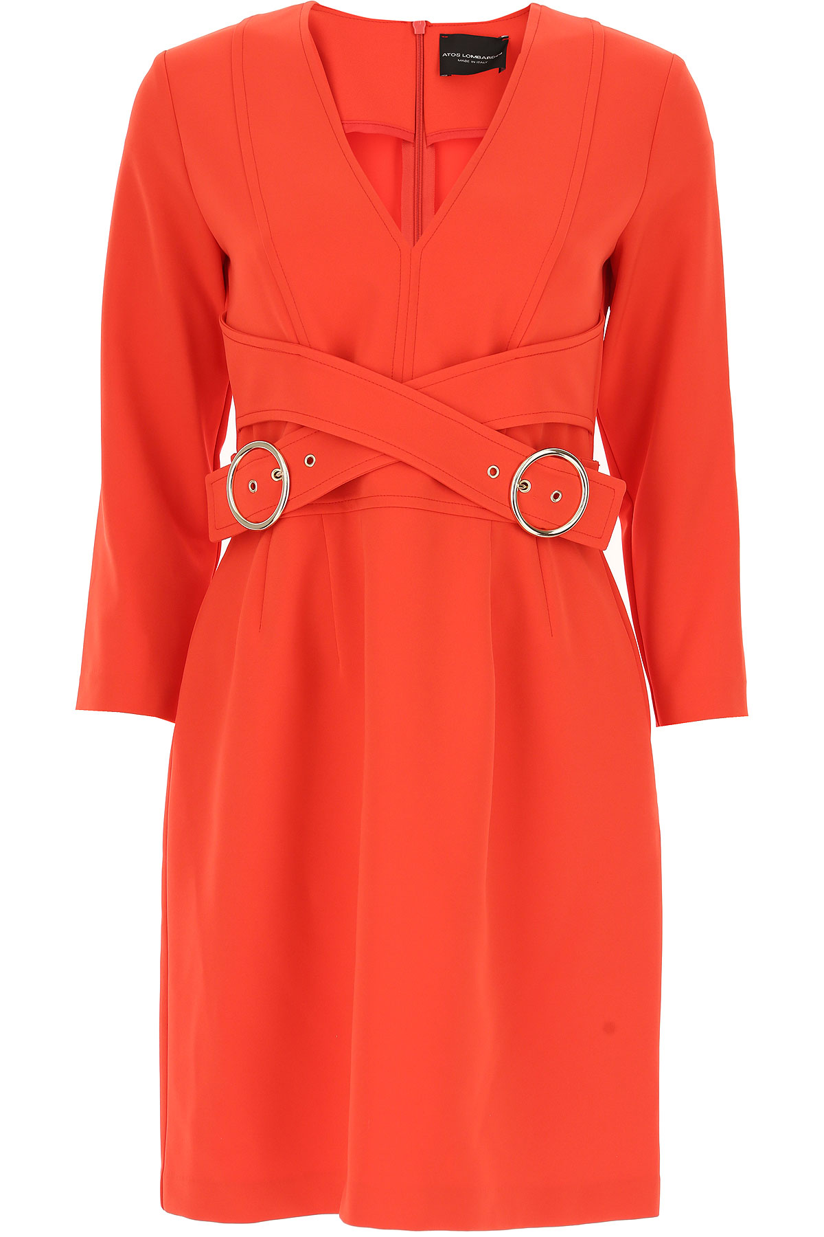 Image of Atos Lombardini Women\'s Coat, Coral, polyester, 2017, 10 6 8