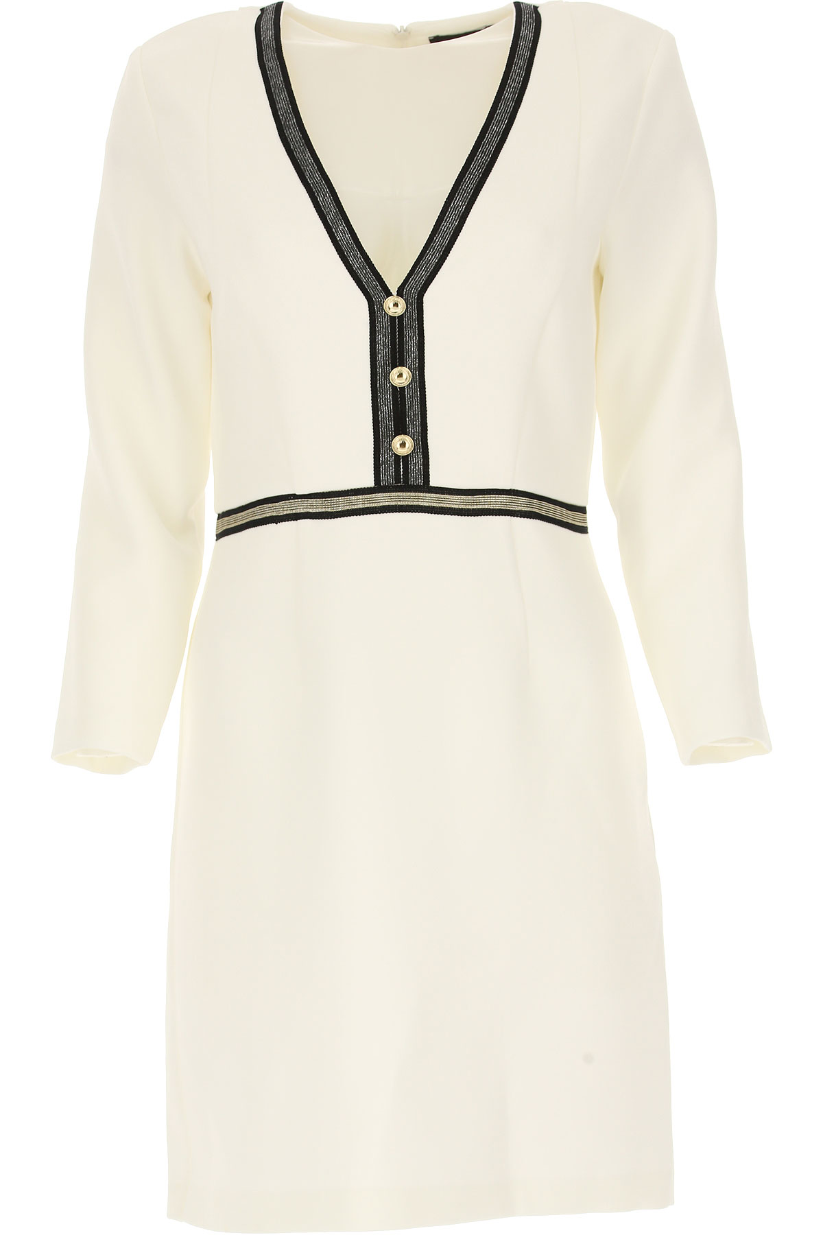 Image of Atos Lombardini Dress for Women, Evening Cocktail Party, White, polyester, 2017, 10 6 8