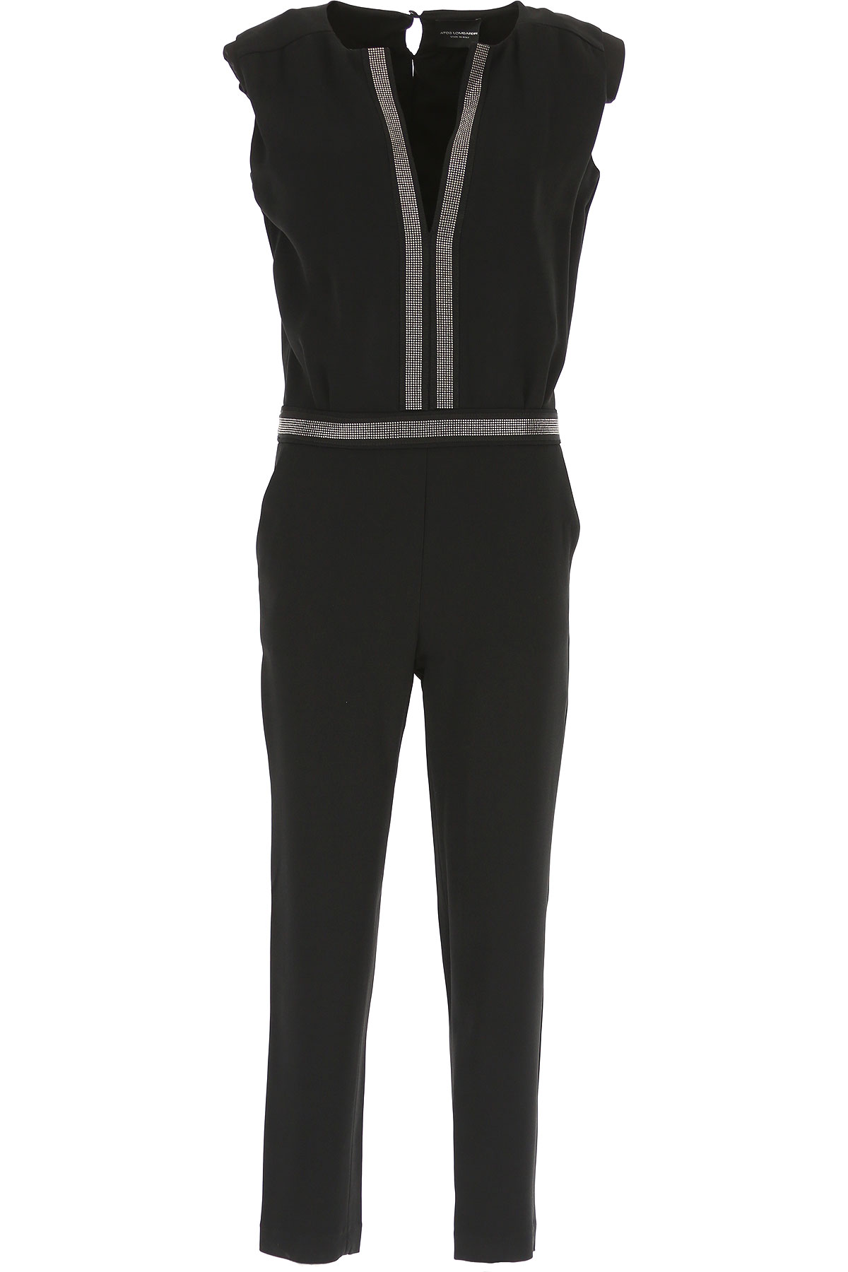 Image of Atos Lombardini Dress for Women, Evening Cocktail Party, Black, polyester, 2017, 10 6 8