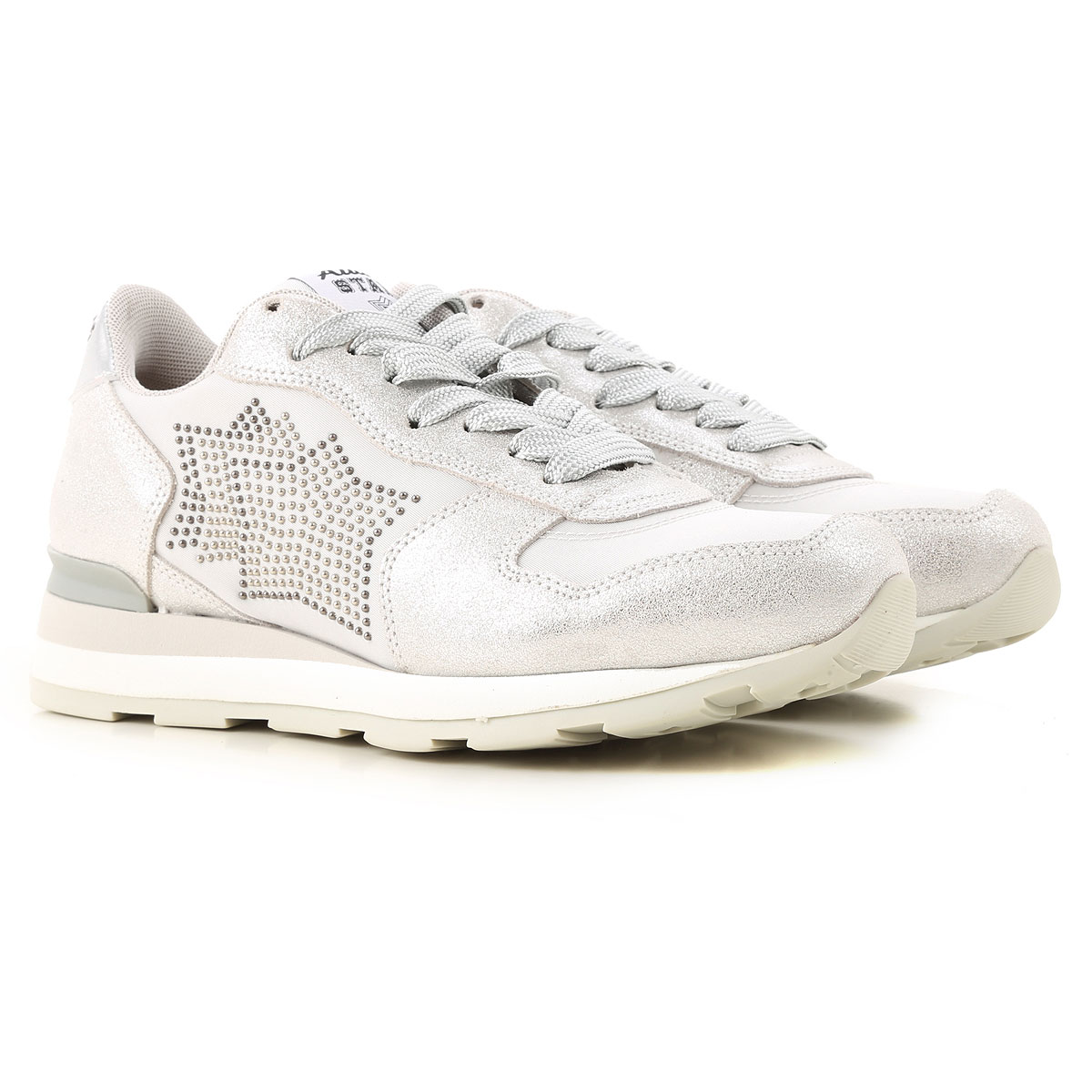 Atlantic Stars Sneakers for Women On Sale in Outlet, Silver, Metallic Leather, 2019, 5 6 7 9