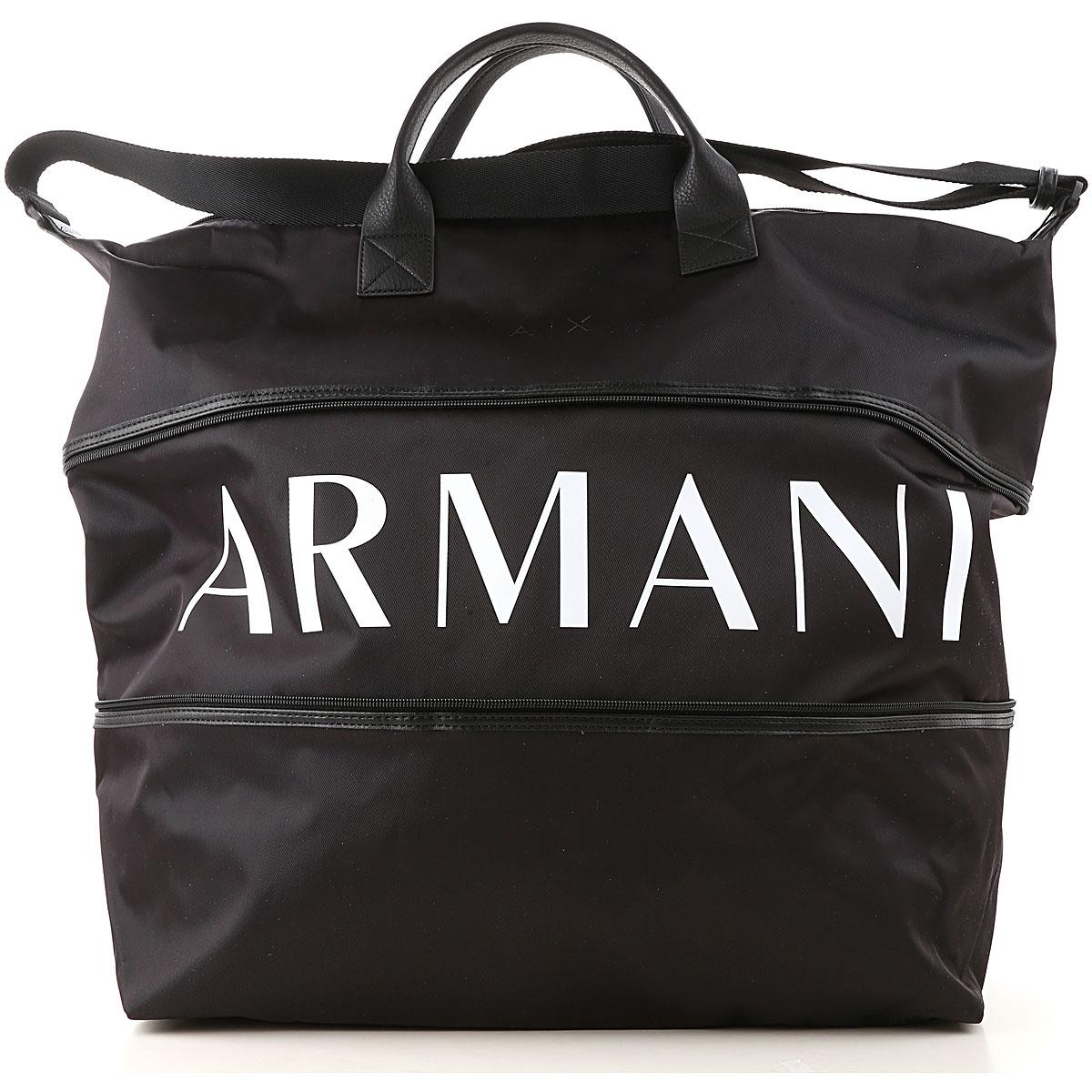 Armani Exchange Weekender Duffel Bag for Men On Sale, Black, polyamide, 2019