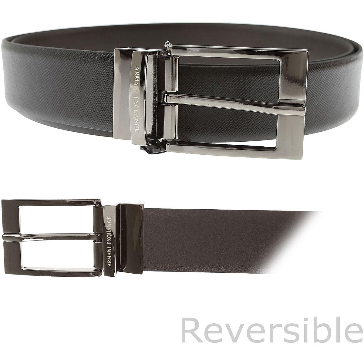 Armani Exchange Mens Belts On Sale, Black, Genuine Leather, 2019
