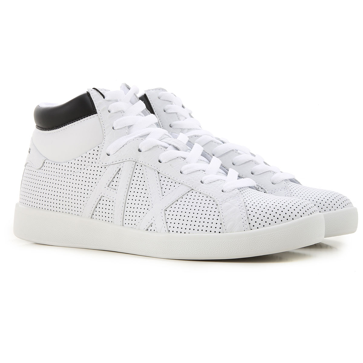 Armani Exchange Sneakers for Men On Sale, White, Leather, 2019, 7 8 9