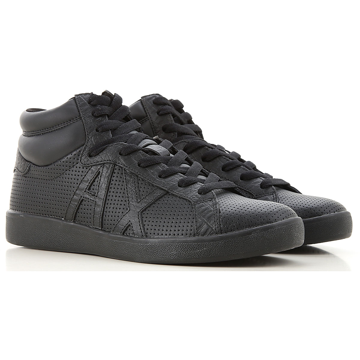 Armani Exchange Sneakers for Men On Sale, Black, Leather, 2019, 7 9