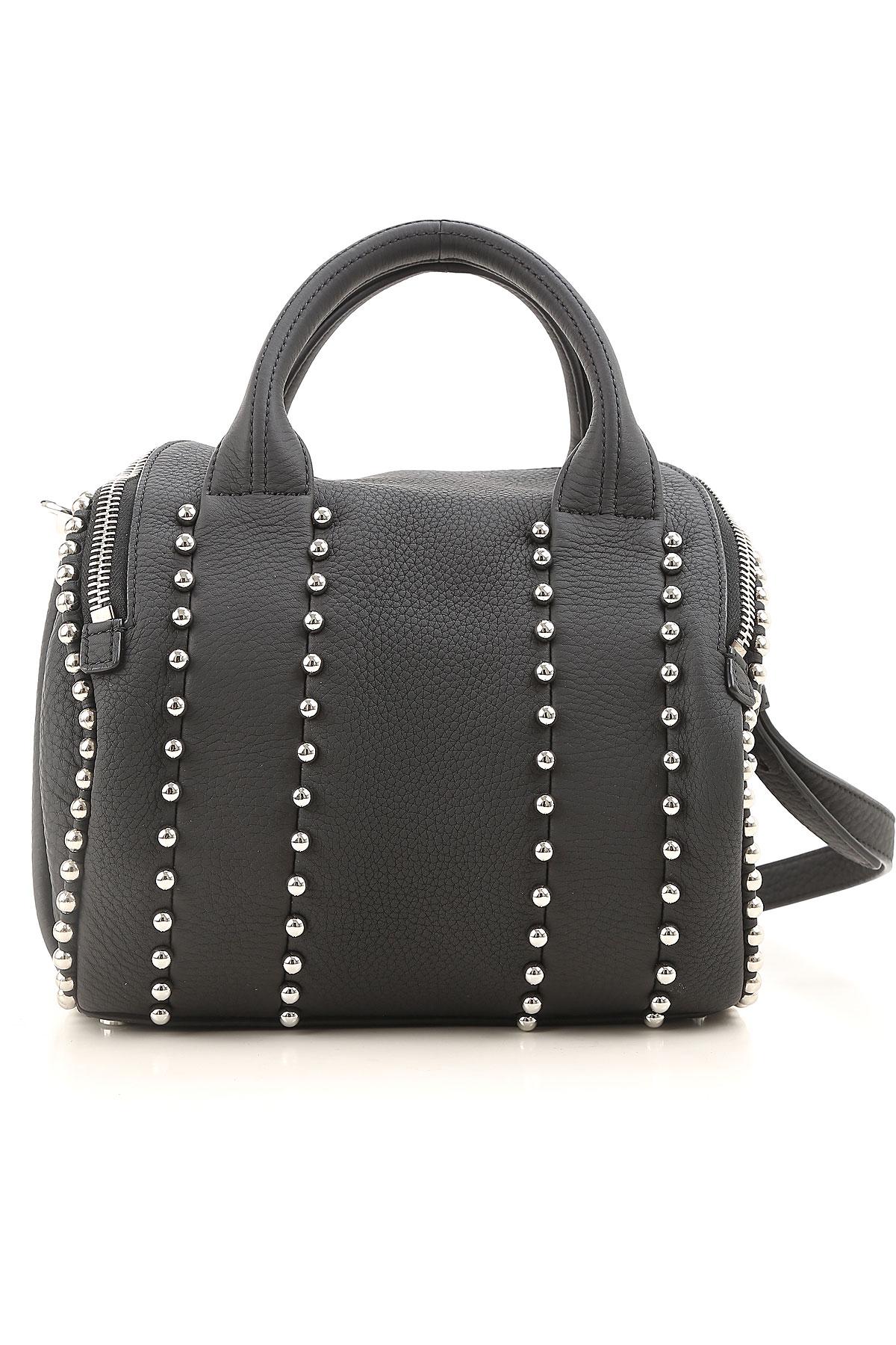 Image of Alexander Wang Top Handle Handbag, Black, Leather, 2017