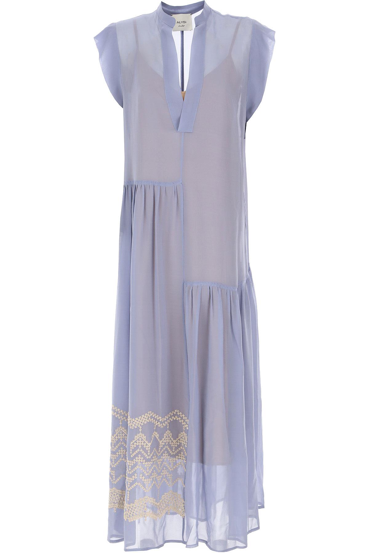 ALYSI Robe Femme Pas cher en Soldes, Bleu perle pâle, Soie, 2019, 40 M