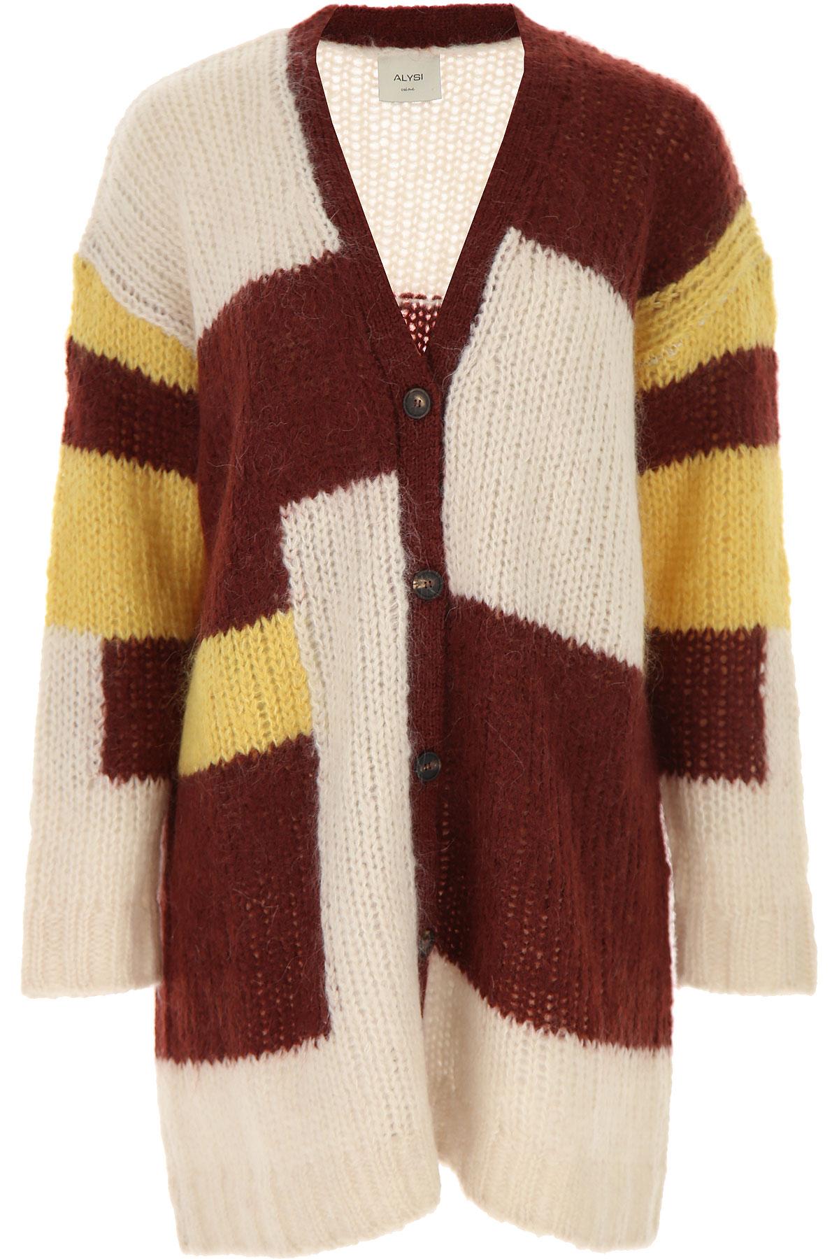 ALYSI Sweater for Women Jumper On Sale, Bordeaux, Wool, 2019, 2 4