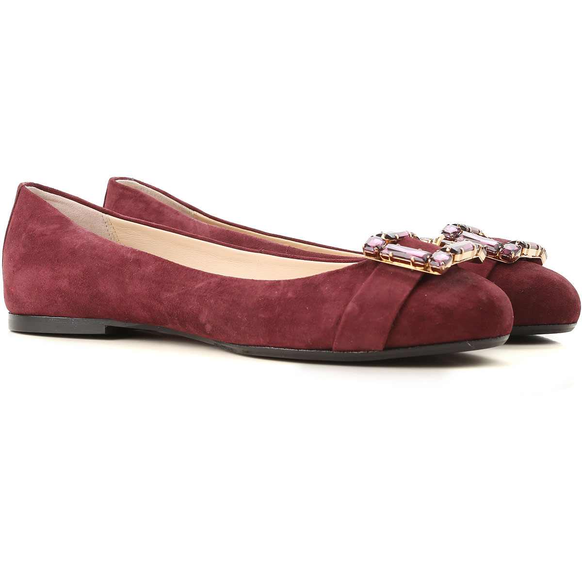 Image of Anna Baiguera Ballet Flats Ballerina Shoes for Women, Burgundy, Suede leather, 2017, 10 5 6 7 8
