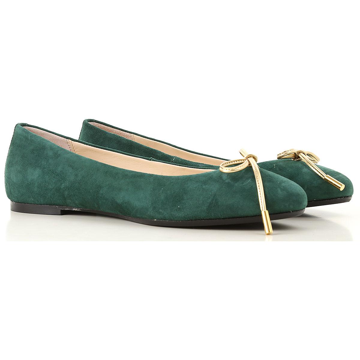 Image of Anna Baiguera Ballet Flats Ballerina Shoes for Women, Dark Green, suede, 2017, 10 11 5 7 8