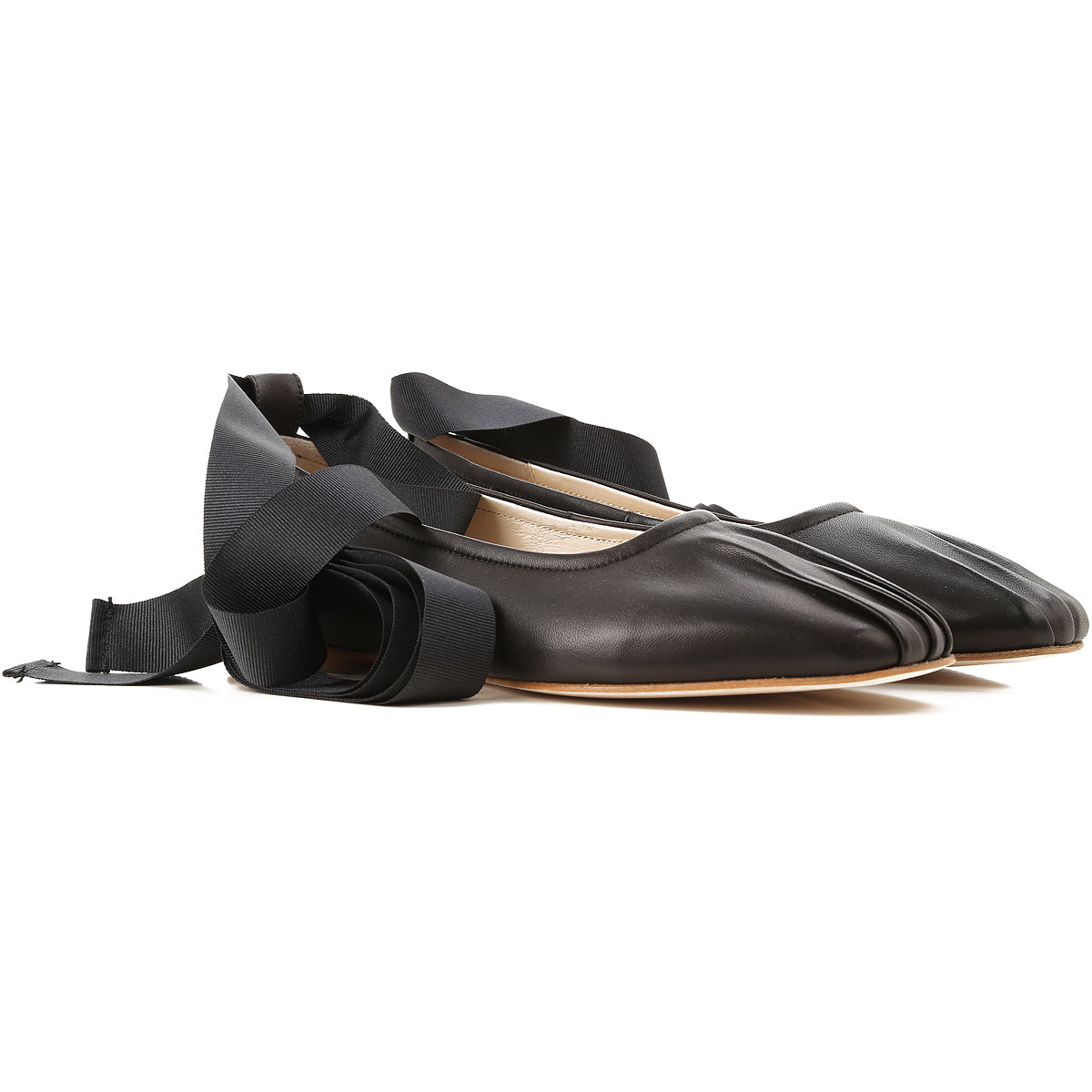 Anna Baiguera Ballet Flats Ballerina Shoes for Women On Sale in Outlet, Black, Calfskin Leather, 2019, 6 7