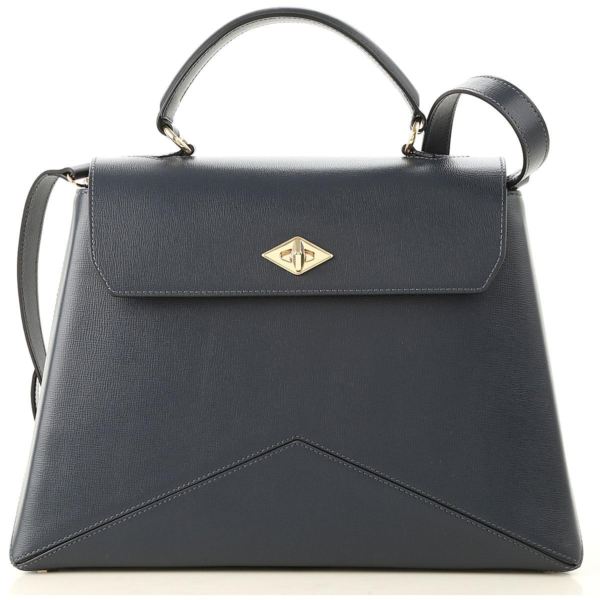Image of Ballantyne Top Handle Handbag, Blue Navy, Leather, 2017